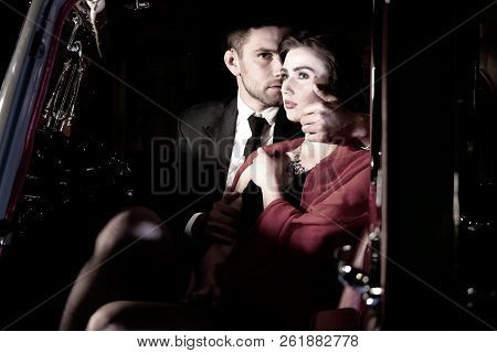 Good Looking Sexy Couple, Handsome Man In Suit, Beatiful Woman In Red Dress, Embrace Passionately In