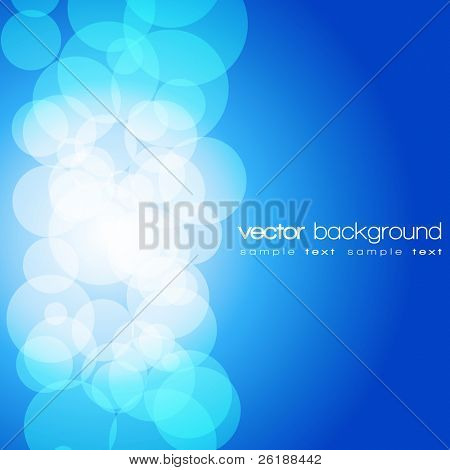 Glittering blue lights background with text - vector