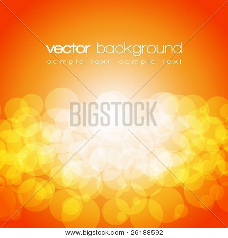 Glittering orange and yellow lights background with text - vector