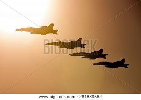 Avalon, Australia - March 1, 2013: Four Royal Australian Air Force (raaf) Boeing F/a-18f Super Horne