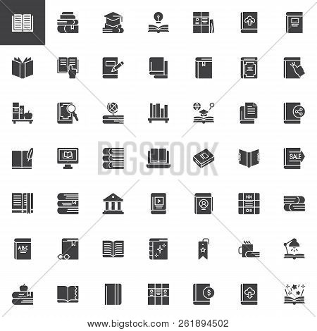 Books And Education Vector Icons Set, Modern Solid Symbol Collection, Filled Style Pictogram Pack. S