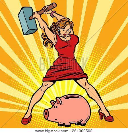 Woman Breaks Piggy Bank. Finance, Economics And Consumption. Comic Cartoon Pop Art Retro Vector Illu