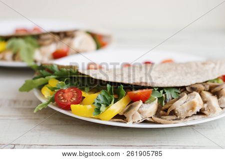 Healthy Salad With Chicken Breast, Mushrooms, Yellow Bell Pepper, Parsley, Arugula And Cherry Tomato