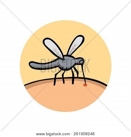 Mosquito Bites. Bloodsucker Cartoon Icon. Flat Vector Illustration. Isolated On White Background.