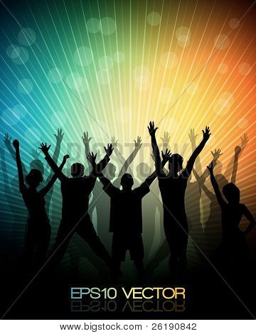 EPS10 Parti insanlar gençlerin dans arka plan - vektör.