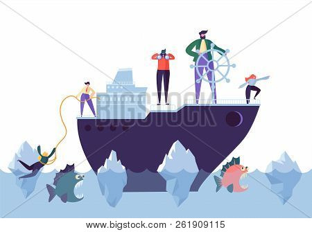 Business People Floating On The Ship In The Dangerous Water With Sharks. Leadership, Support, Crisis
