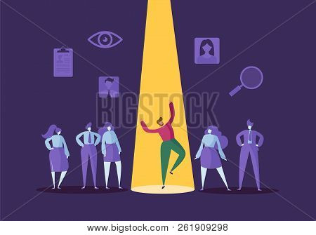 Business Recruitment Concept With Flat Characters. Employer Choosing One Man From Group Of People. H