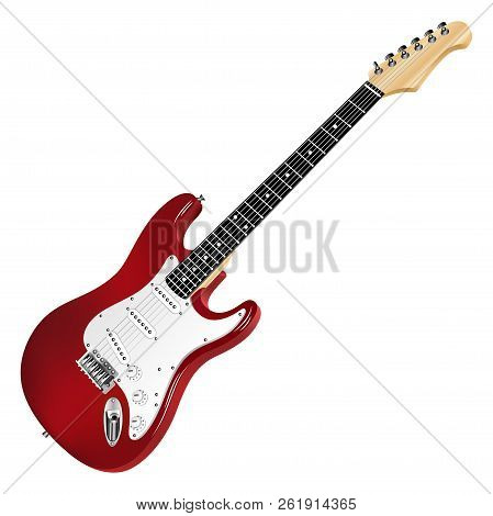 Red Electric Guitar, Classic. Realistic 3d Image. Vector Detailed Illustration Isolated On A White B