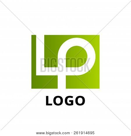 Lp Company Logo Vector Template. Vector Logo Design With The Lp Initial Letters In A Square Rectangl