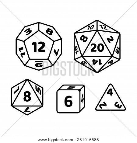 Set Of Polyhedron Dice For Fantasy Rpg Tabletop Games. D20, D12, D8 And Cube With Numbers On Sides.