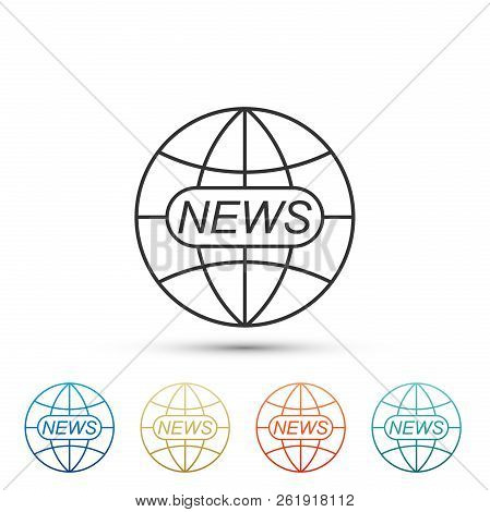 World And Global News Concept Icon Isolated On White Background. World Globe Symbol. News Sign Icon.