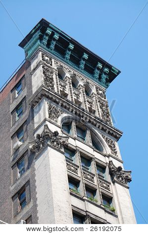 upward view of classic-style building; Manhattan, NY