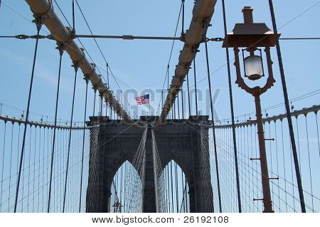 Upward view of Brooklyn bridge, with lamp; New York City