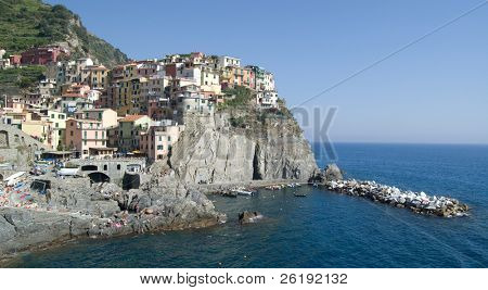 A view of Manarola on the coast; Cinque Terre, Italy