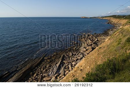 Rock beach and coastline view; Cape Breton, NS, Canada