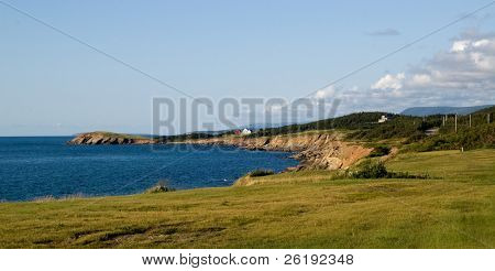 Rocky coastline and water off Cape Breton Island, Nova Scotia, Canada