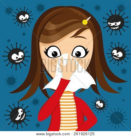 Girl Has Runny Nose And Viruses Around On A Blue Background.