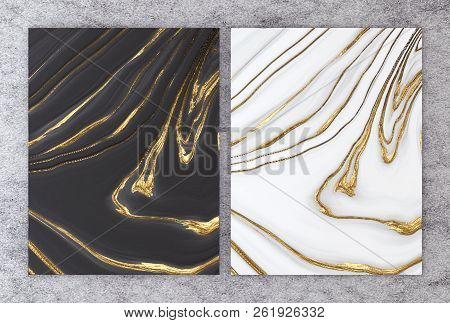 3d Rendering Of Black And White Marble With Golden Foil For Wedding And Greeting Invitation Card Or
