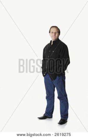Standing Man In Black Wear