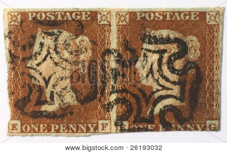 British Penny Red pair with 1841-1843 Maltese Cross cancellation