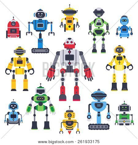 Flat Bots And Robots. Robotic Bot Mascot, Humanoid Robot And Cute Chatbot Assistant Vector Flat Char