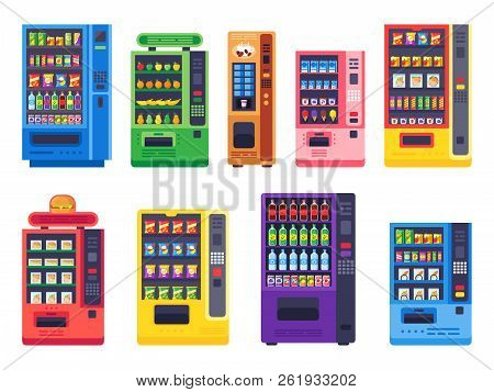 Flat Vending Machines. Snacks Food, Ice Cold Drinks And Candy Machine Vector Illustration Set