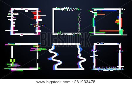 Glitch Square Frame. Trendy Glitched Squares Shapes, Abstract Dynamic Geometry Frames With Noise Gli