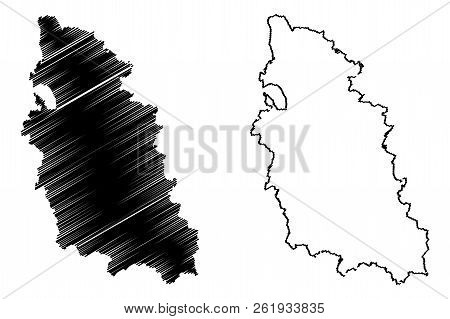 Pskov Oblast (Russia, Subjects of the Russian Federation, Oblasts of Russia) map vector illustration, scribble sketch Pskov Oblast map poster
