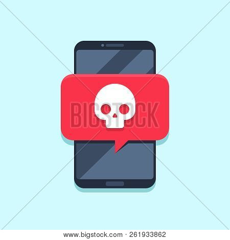 Virus Notification On Smartphone Screen. Alert Message, Spam Attack Or Malware Notifications. Smartp