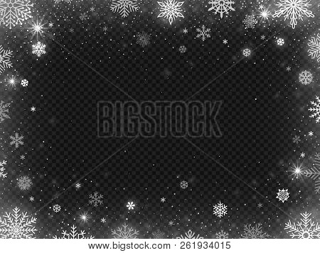 Snowed Border Frame. Christmas Holiday Snow, Clear Frost Blizzard Snowflakes And Silver Snowflake Ve