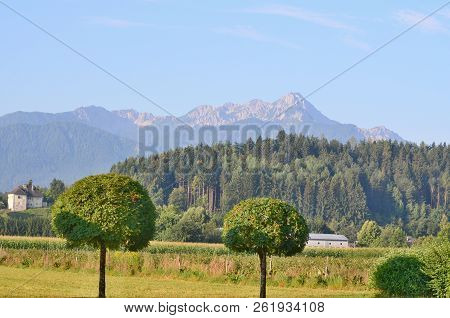 Landscape Around The Village Of Rosegg In Austria In The Land Of Carinthia In The District Of Villac