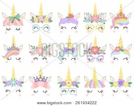 Unicorn Face. Beautiful Pony Unicorns Faces, Magic Horn In Rainbow Flower Wreath And Cute Eyelashes