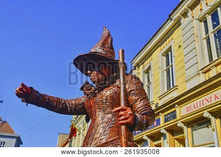 Hustopece, Czech Republic - October 7, 2018: Living Statue Of Witch. Live Statue Of Sorceress. Livin
