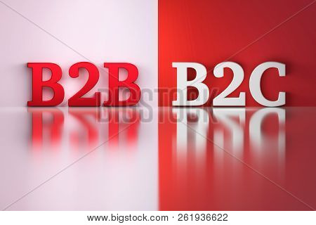 B2B and B2C words in white and red colors on the red and white reflective background. 3d illustration. poster
