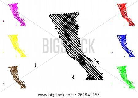 Baja California (united Mexican States, Mexico, Federal Republic) Map Vector Illustration, Scribble