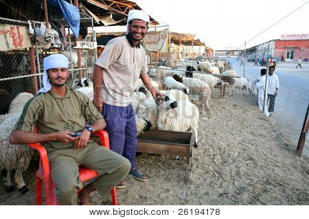 Shepherds at the livestock market in Doha, Qatar, Arabia. No release, editorial use only.
