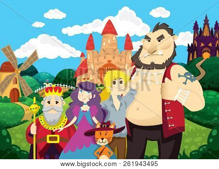 Puss in Boots. Beautiful background with castles, pond, mill and fields. Characters of fairy tales puss, princess, king, boy and ogre. Children's vector illustration. Fairy tale background. poster