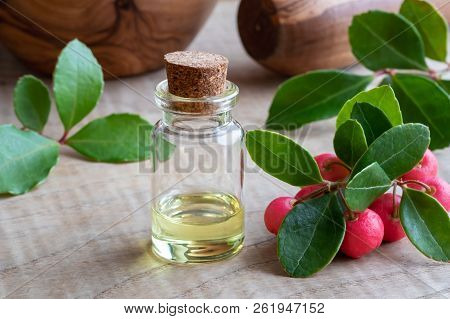 A Bottle Of Essential Oil With Wintergreen Leaves And Berries On A Wooden Table