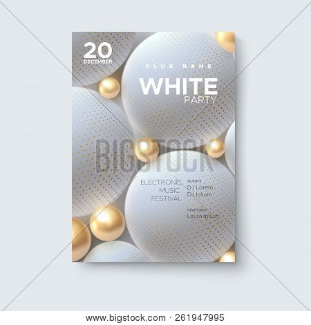 Electronic Music Festival. Modern Poster Design. White Party Flyer. Abstract Background With 3d Gold