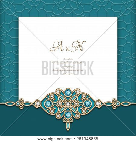 Vintage Diamond Jewelry Background With Swirly Gold Border Pattern, Elegant Greeting Card Or Wedding
