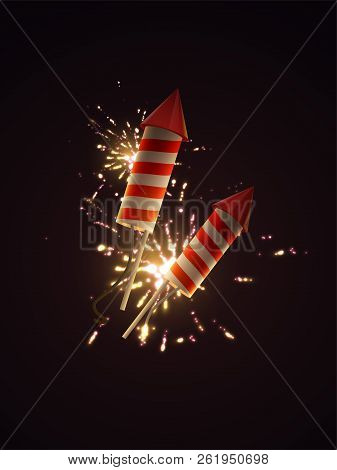 Firework Rockets With Sparkling Fireworks Explosions. Vector 3d Illustration Of Pyrotechnics. Realis