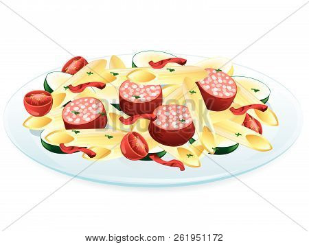 Illustration Of Ratatouille With Pasta, Tomatoes, And Sausage