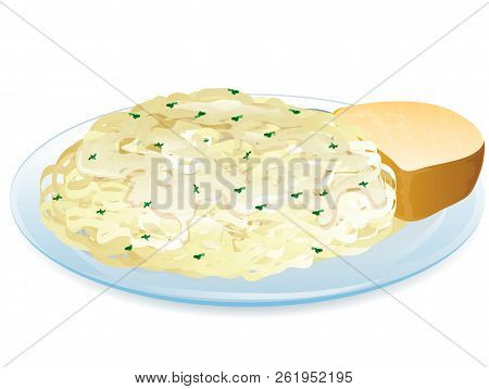 Illustrationof Different Pasta, Such As Ravioli, Tortellini,penne And Fusilli