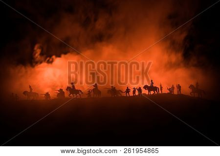 American Civil War Concept. Military Silhouettes Fighting Scene On War Fog Sky Background. Attack Sc