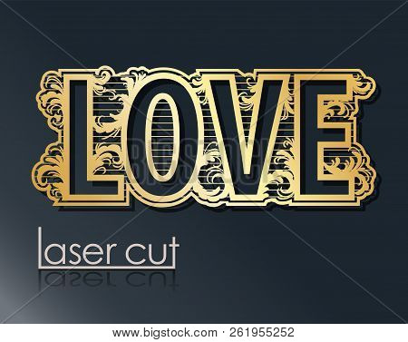 Laser template wedding pendant, Dengler for cutting vinyl. The decor is a stylized openwork pattern of flowers and branches. The image is suitable for laser cutting, cutting or printing a plotter. poster