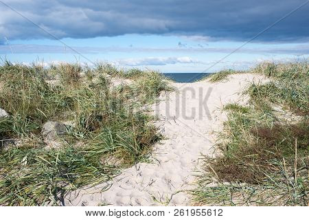 Path To A Beach In Denmark Through The Dunes And Steps In Sand