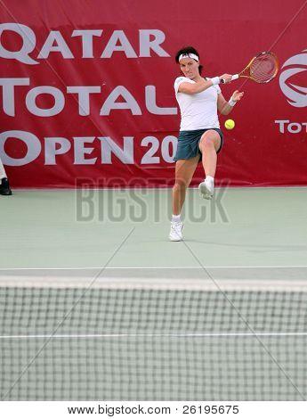 Russian tennis star Svetlana Kuznetsova in action against Daniela Hantuchova in the Qatar Total Open, in Doha, February 2007.