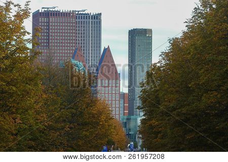 The Hague, The Netherlands - October 7 2018: View Of The Hague City Skyline Modern Buildings Through