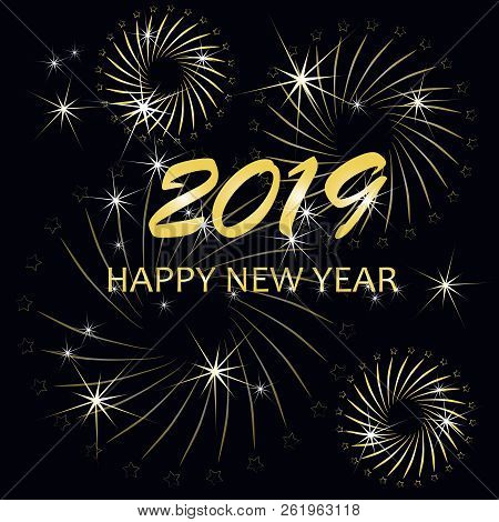 Typography Banner Gold Happy New Year 2019, Congratulation Card On On Black Stock Vector Illustratio
