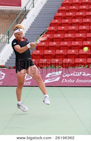 World No 2 Svetlana Kuznetsova in action at the Qatar Total Open, Doha, during her Feb 20, 2008, match against Frenchwoman Nathalie Dechy.